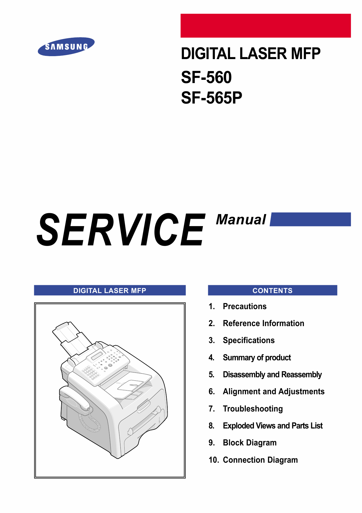 Samsung Digital-Laser-MFP SF-560 565P Parts and Service Manual-1